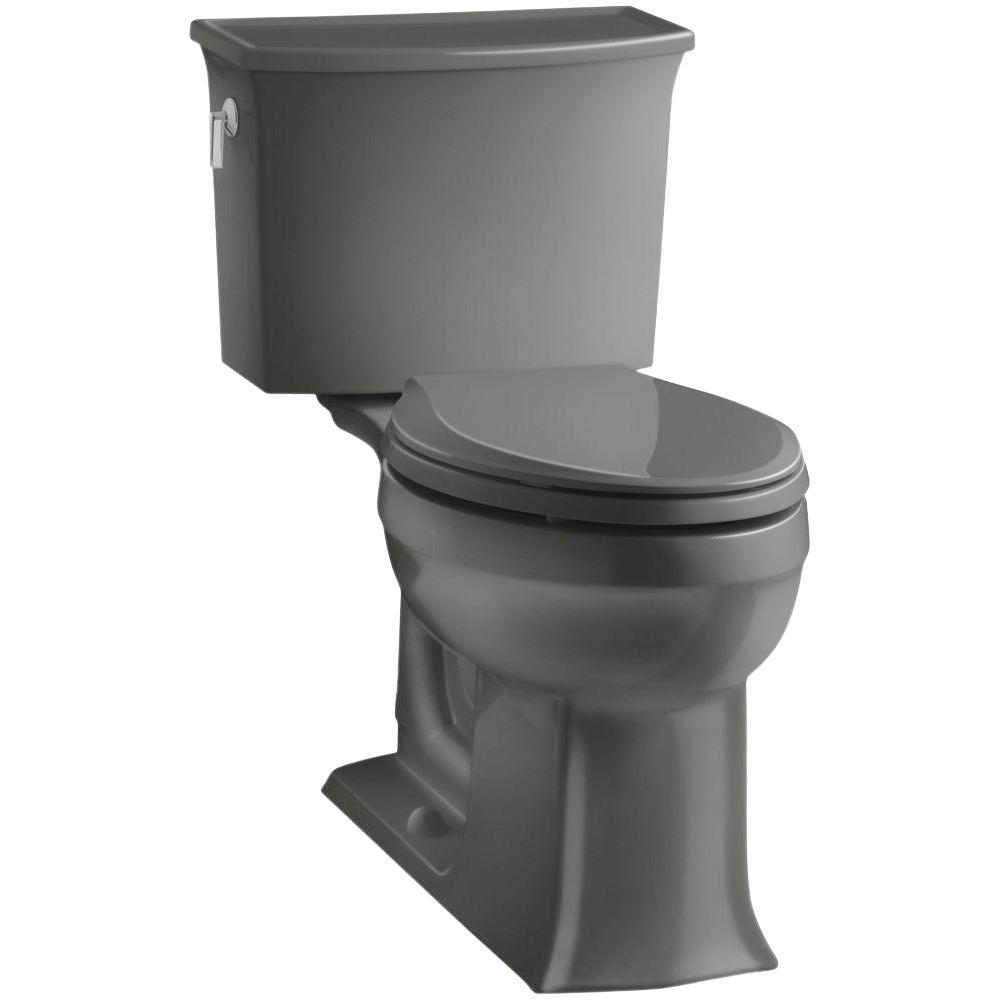 Archer Comfort Height 2-piece 1.28 GPF Single Flush Elongated Toilet with AquaPiston Flushing Technology in Thunder Grey