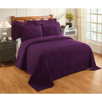 Julian Collection in Solid Stripes Design Plum King 100% Cotton Tufted Chenille Bedspread