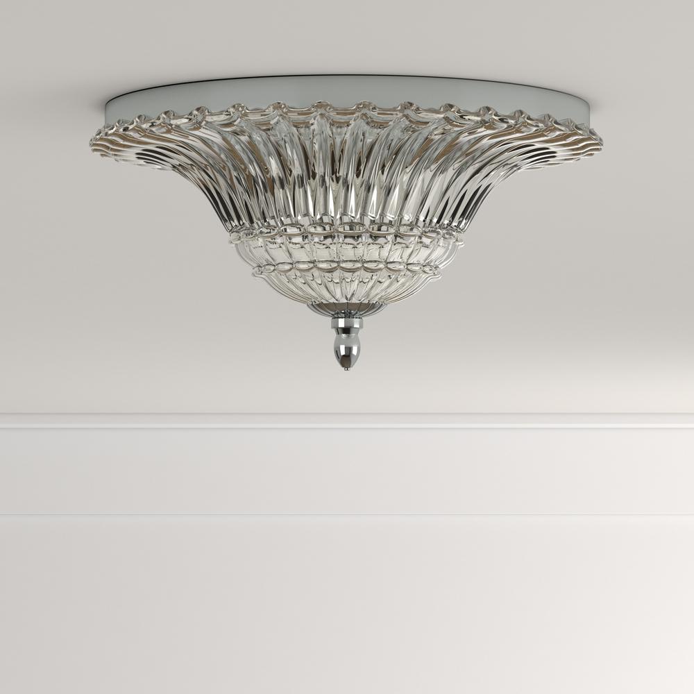 Elegant Designs FM1002-CHR 2 Light Glass Ceiling Light Glacier Petal Flushmount,