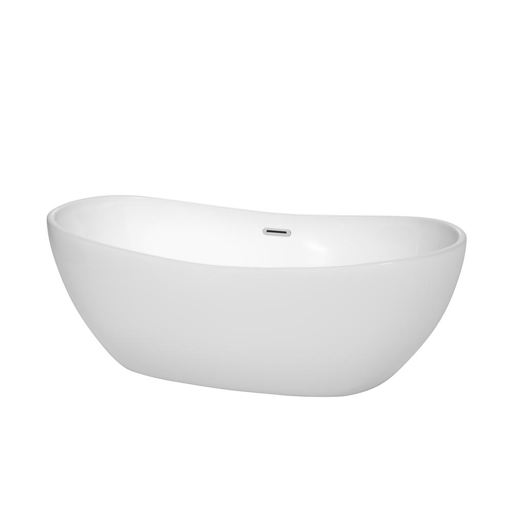 Wyndham Collection Rebecca 64.8 in. Acrylic Flatbottom Non-Whirlpool ...