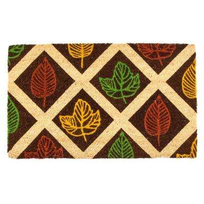 Leaf Rubbing 17 in. x 28 in. Non-Slip Coir Door Mat