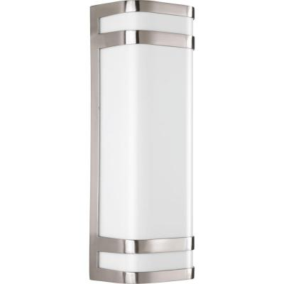 Valera 2-Light 16 in. Outdoor Brushed Nickel Wall Lantern Sconce