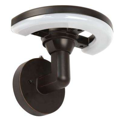 9 in. 12-Watt Bronze Outdoor Integrated LED Enterprise Wall Pack Light with Dusk to Dawn Photocell Sensor