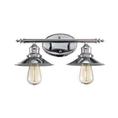 Griswald 2-Light Polished Chrome Bath Light