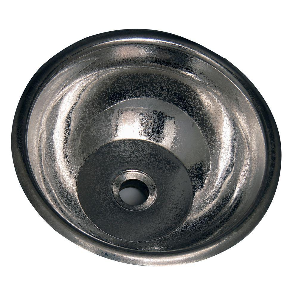 Pegasus Self-Rimming Round Bathroom Sink in Crackled Stainless