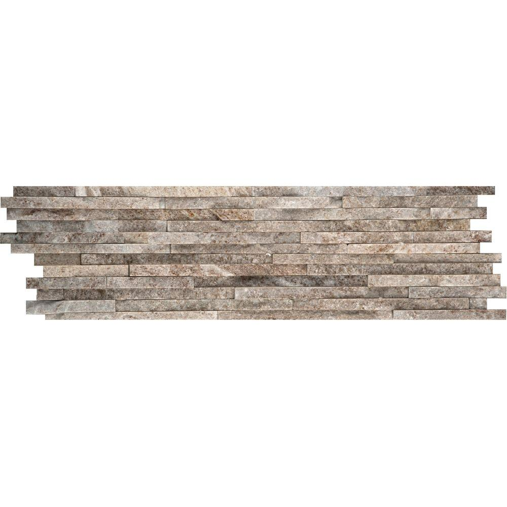 Emser Cream Gold Mini Stacked 6 in. x 24 in. Quartzite Slate Floor and Wall Tile