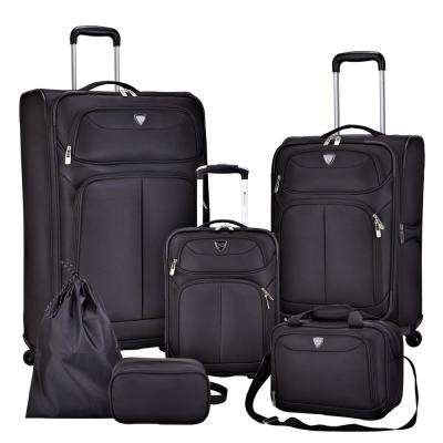 6-Piece Black Nested Value Luggage Set Expansion and Spinners on Vertical Luggage