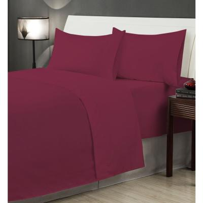 Burgundy Microfiber Twin XL 4-Piece Sheet Set