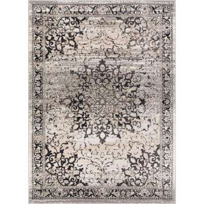 New Age Sultana Grey 8 ft. x 10 ft. Traditional Medallion Vintage Distressed Area Rug