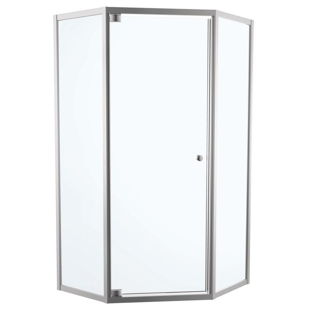 framed neoangle hinged shower door in chrome