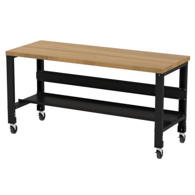 30 in. x 72 in. Hardwood Top Heavy-Duty Adjustable Height Workbench with Casters and Bottom Shelf