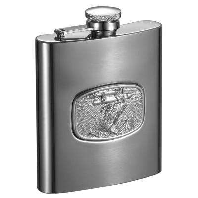 Bass Fishing Embossed Stainless Steel Liquor Flask
