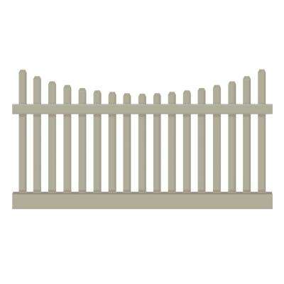 Hampshire 3 ft. H x 6 ft. W Khaki Vinyl Picket Fence Panel Kit