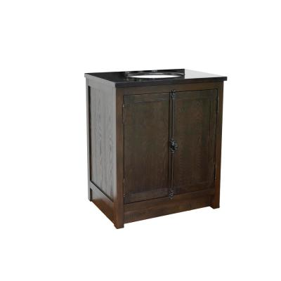 Plantation 31 in. W x 22 in. D Bath Vanity in Brown with Granite Vanity Top in Black with White Oval Basin
