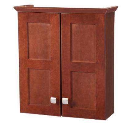 Artisan 19-1/4 in. W x 21-7/10 in. H x 7 in. D Bathroom Storage Wall Cabinet in Chestnut