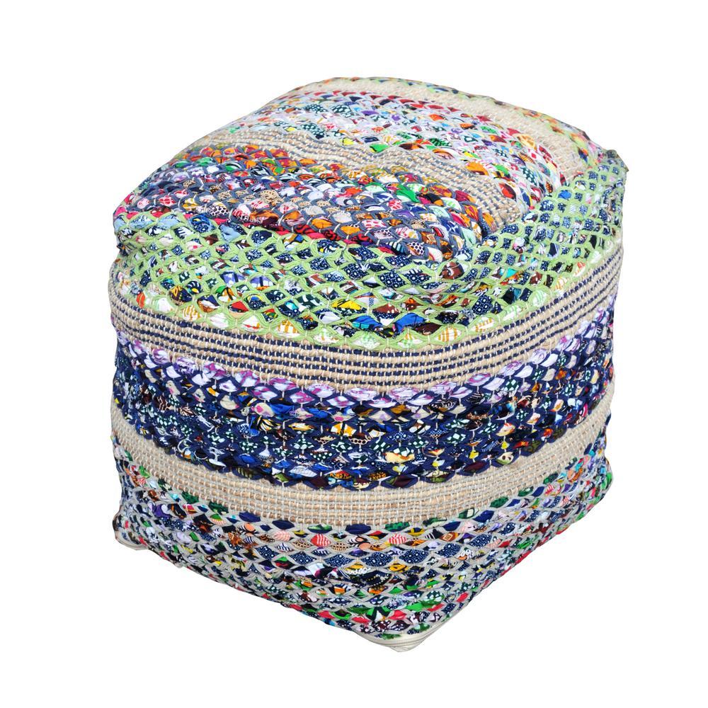 Layson Multi-Color Cotton and Jute Pouf