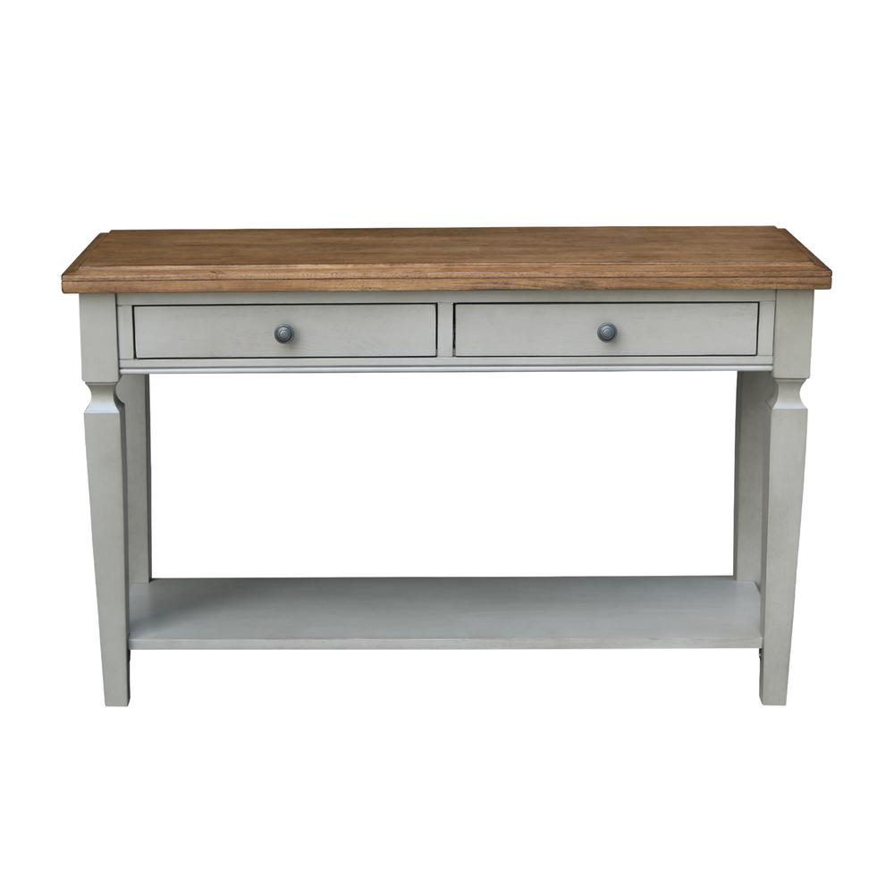 Vista 2-Tone Hickory and Gray Console Table