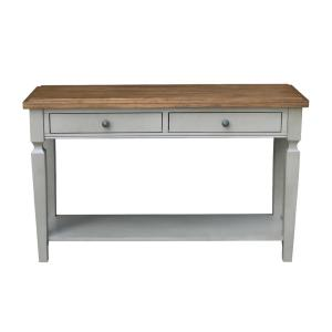Vista 48 in. Hickory/Gray Standard Rectangle Wood Console Table with Drawers