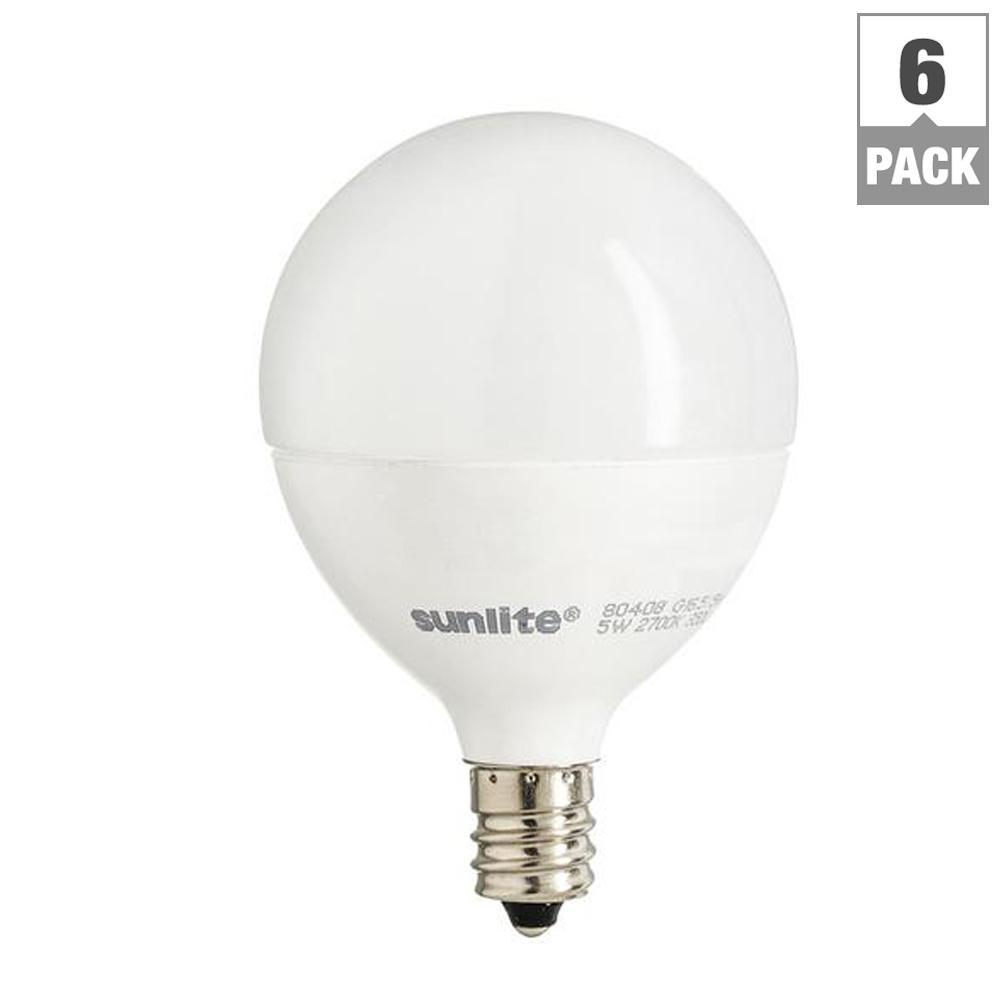 40-Watt Equivalent Warm White G16.5 Dimmable LED Light Bulb (6-Pack)