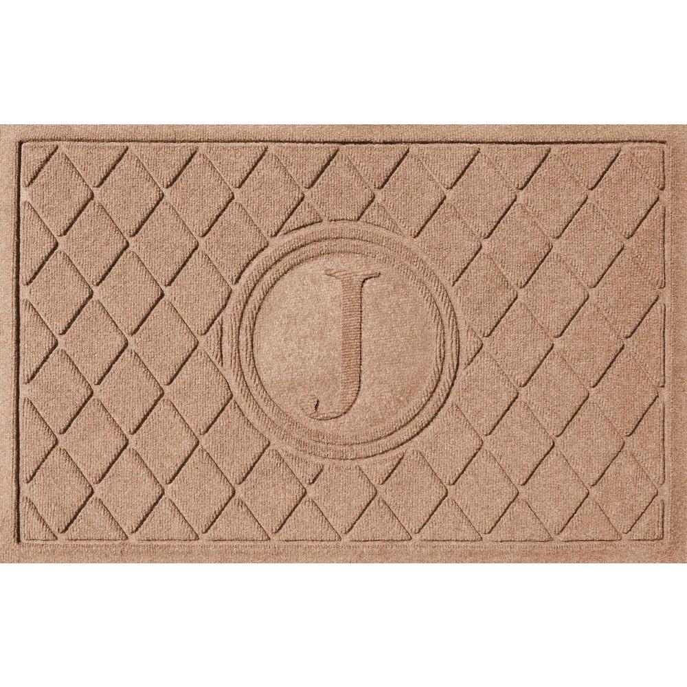 Argyle Medium Brown 24 in. x 36 in. Monogram J Door Mat