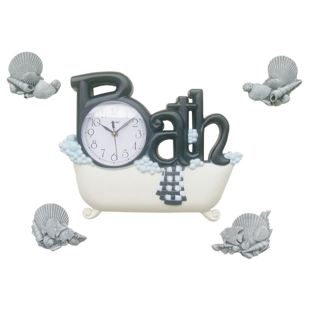 Nextime 11.38 in. x 14 in. Bath Shells Plastic Wall Clock