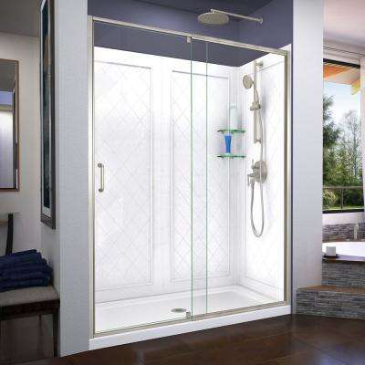 Flex 60 in. x 72 in. Semi-Frameless Pivot Shower Door in Brushed Nickel with 60 in. x 36 in. Base and Wall in White