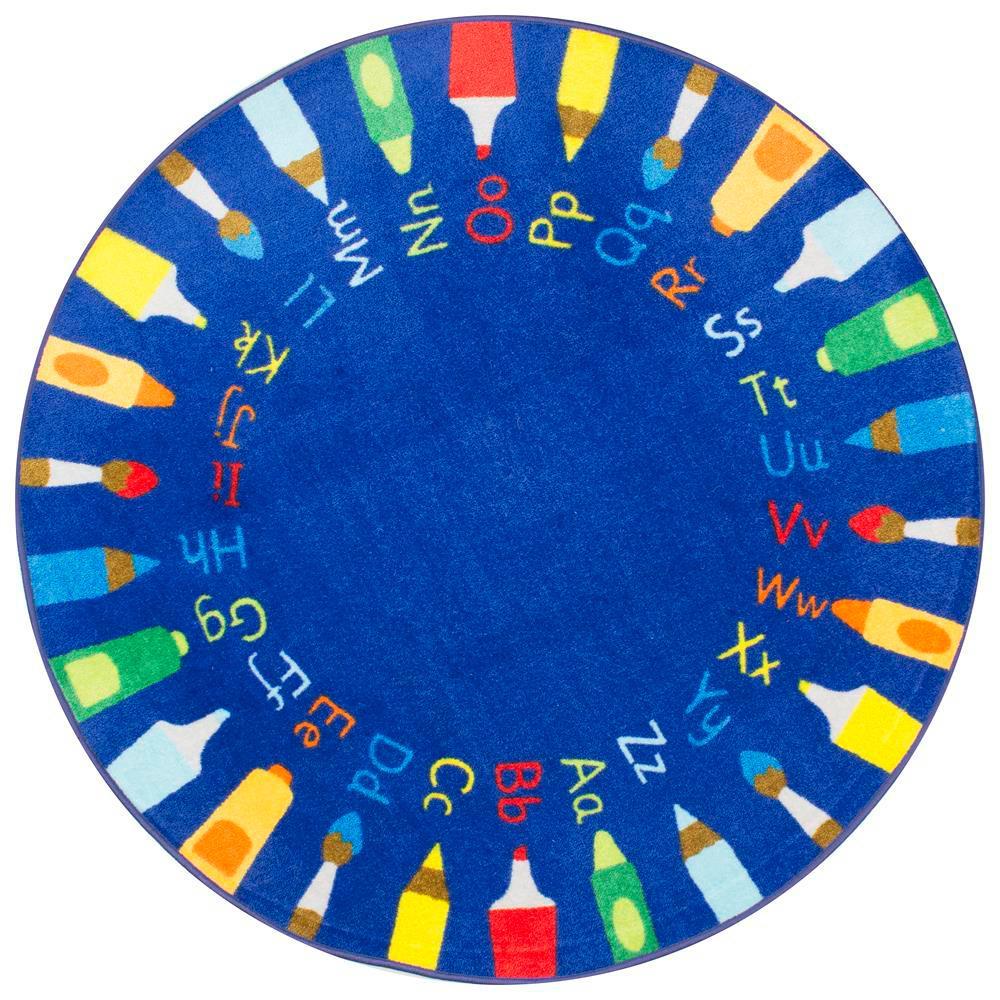 Rainbow Alphabet Blue 5 ft. x 5 ft. Round Area Rug