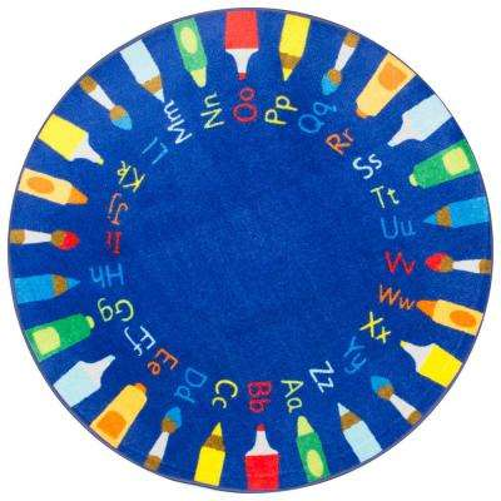 Rainbow Alphabet Blue 8 ft. x 8 ft. Round Area Rug