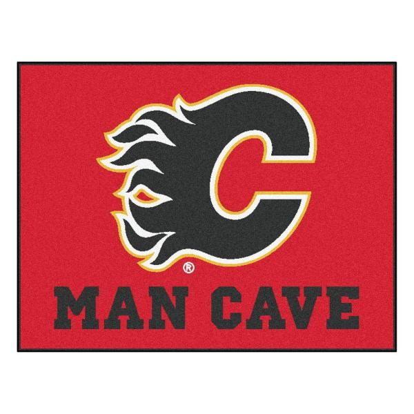 Calgary Flames Red Man Cave 3 ft. x 4 ft. Area Rug