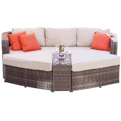 Cochran Brown 4-Piece Wicker Outdoor Daybed Set with Beige Cushions