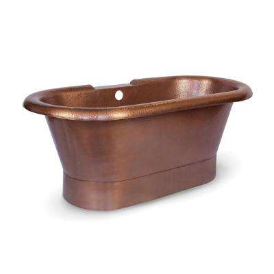 Pure Copper Freestanding Flatbottom Non Whirlpool Bathtub In Antique Copper