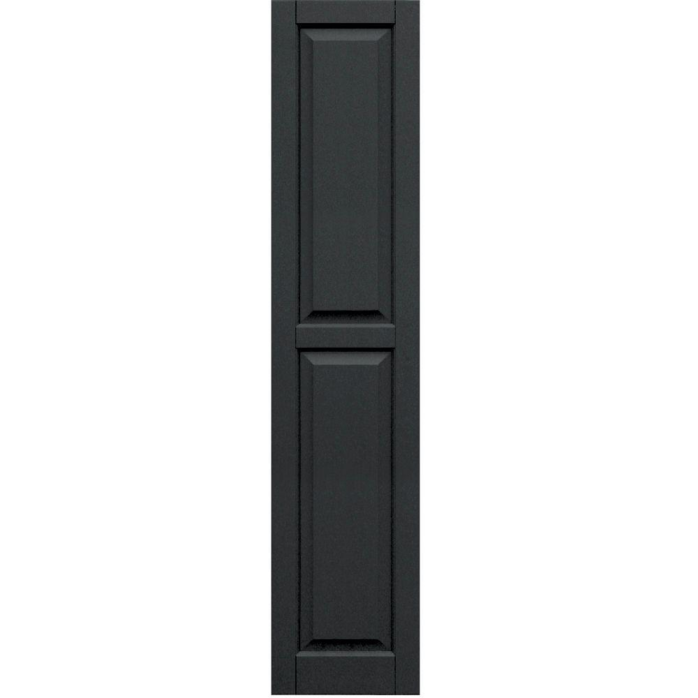 Winworks Wood Composite 15 in. x 71 in. Raised Panel Shutters Pair #632 Black