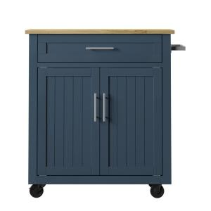 32 in. Fontana Blue Kitchen Cart with Panel Doors and Drawer