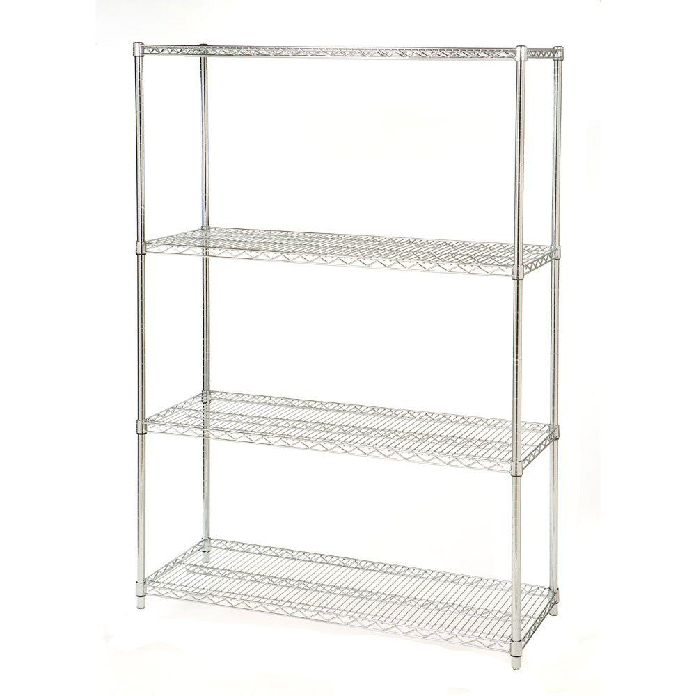 Seville Classics 4-Shelf Steel Wire Shelving System in UltraZinc