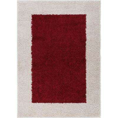 Madison Shag Cozumel Marsala Red 7 ft. x 10 ft. Modern Solid Color Border Chic Area Rug