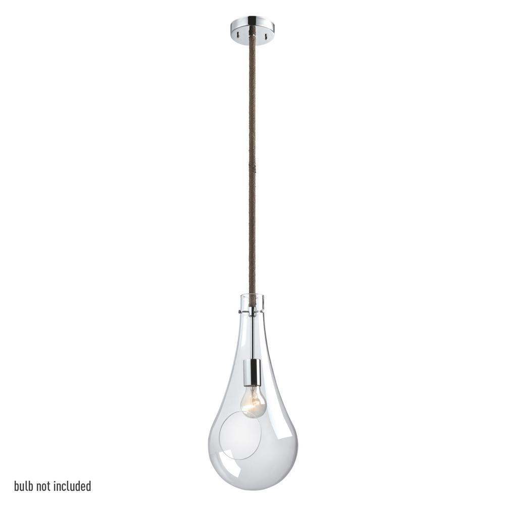 Globe Electric Terra 1- Light 42 in. Chrome Pendant