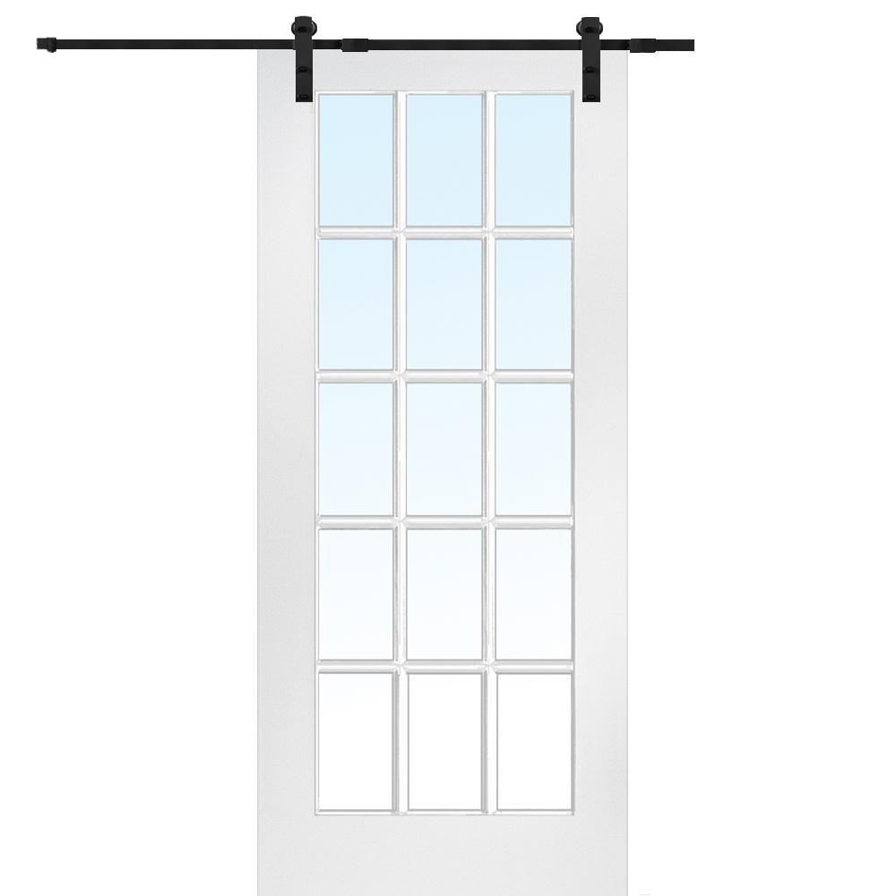 36 in. x 84 in. 15 Lite True Divided Primed MDF Barn Door with Sliding Door Hardware Kit
