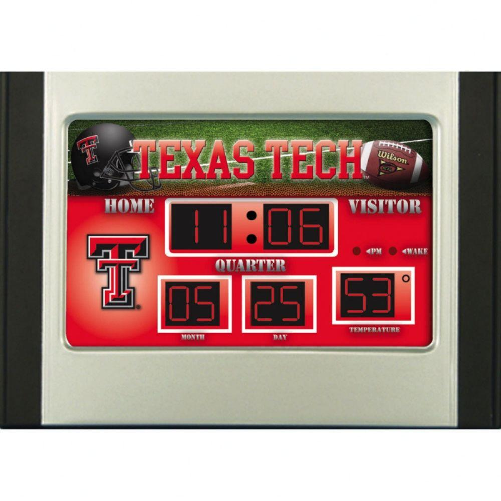 null Texas Tech University 6.5 in. x 9 in. Scoreboard Alarm Clock with Temperature