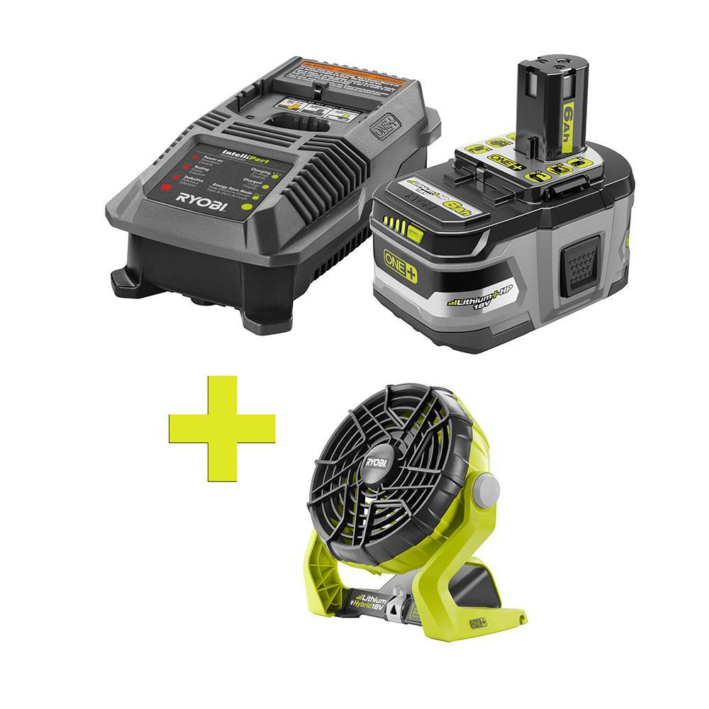 18-Volt ONE+ Lithium-Ion LITHIUM+ HP 6.0 Ah Starter Kit w/ Bonus ONE+ Hybrid Portable Fan