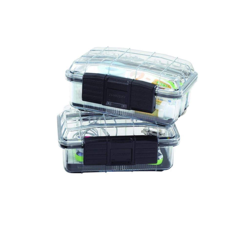 Husky 7 in. 1-Compartment Polycarbonate Storage Small Parts Organizer (2-Pack)