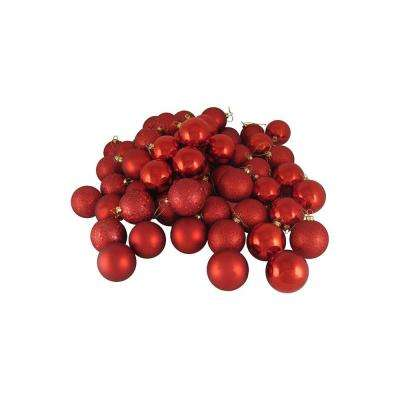 60ct Red Hot Shatterproof 4-Finish Christmas Ball Ornaments