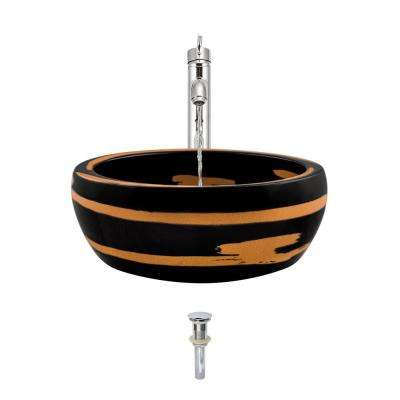 Ceramic Vessel Sink in Black and Yellow with 718 Faucet and Pop-Up Drain in Chrome