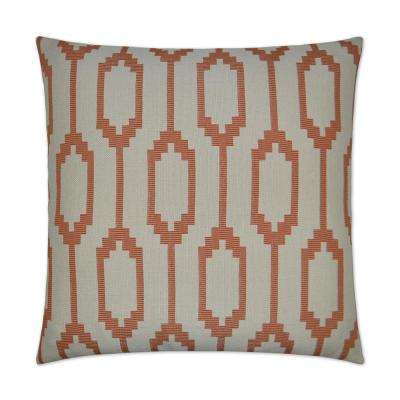 Santa Fe Orange Feather Down 24 in. x 24 in. Standard Decorative Throw Pillow