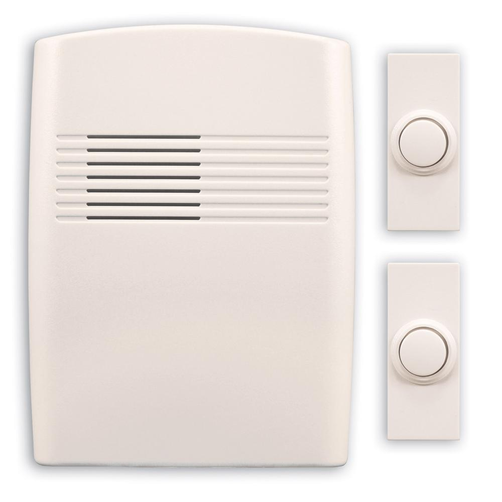 Wireless Battery Operated Off-White Door Chime Kit with 2-Push Buttons