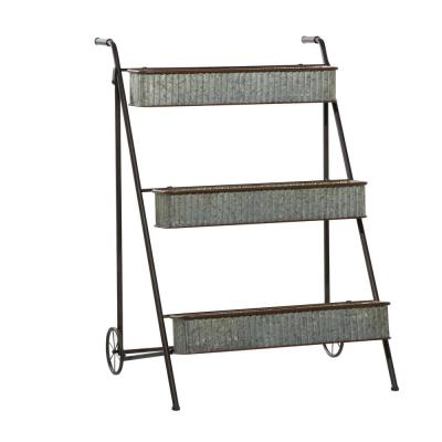 LITTON LANE Large Multi-colored Metal Rack Planter for Outdoors w/ Wheels and Handles, 27''x34''