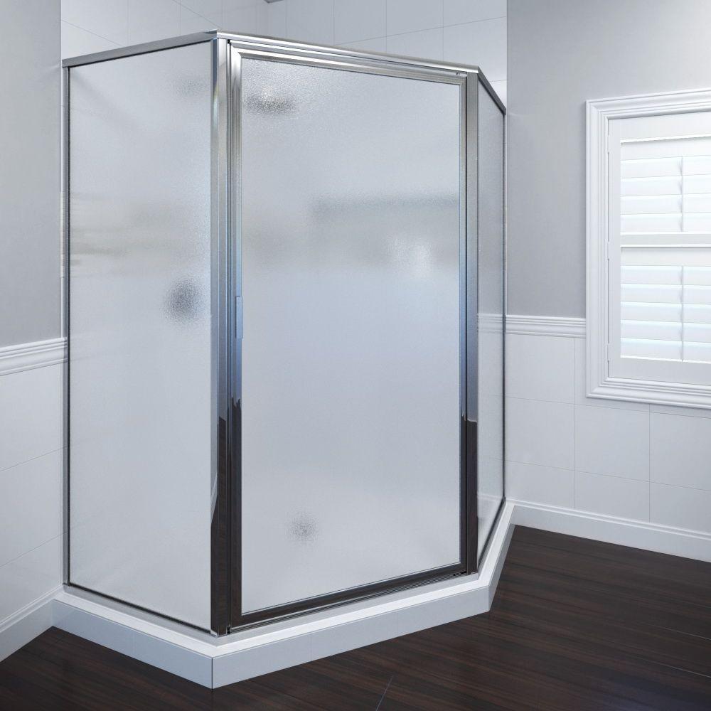 Deluxe 25 in. x 68-5/8 in. Framed Neo-Angle Shower Door in Silver