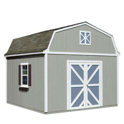 Installed Sequoia 12 ft. x 12 ft. Wood Storage Shed with Driftwood Shingles