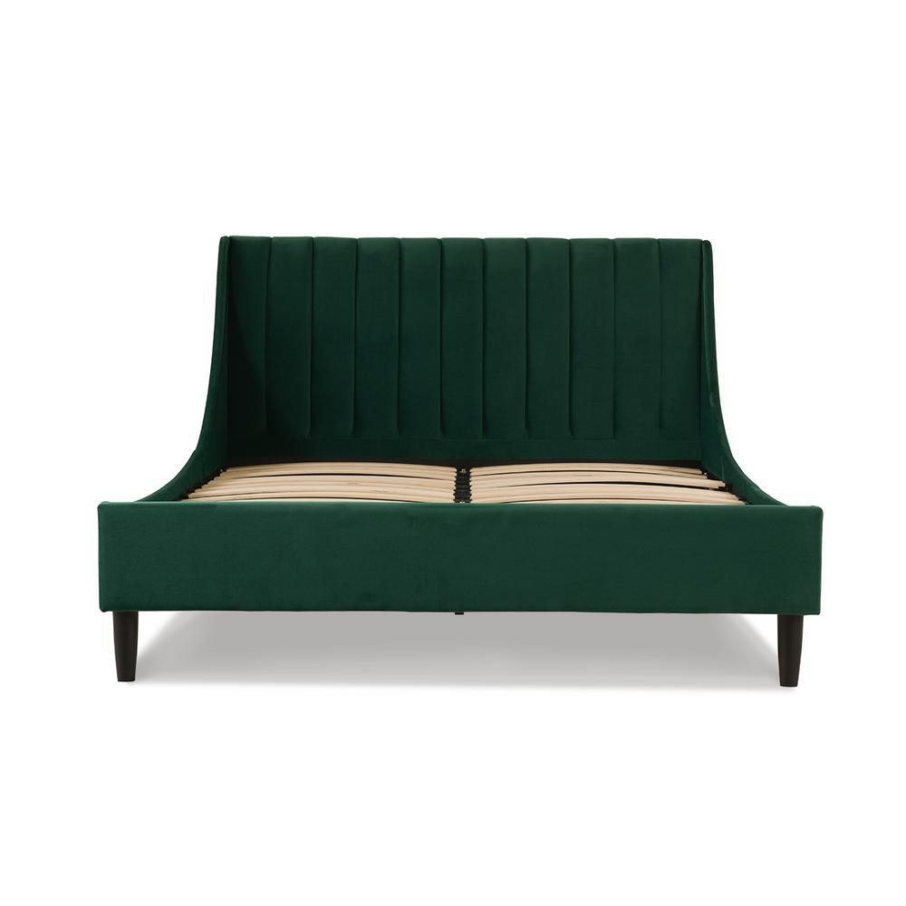 Aspen Upholstered Evergreen Queen Bed