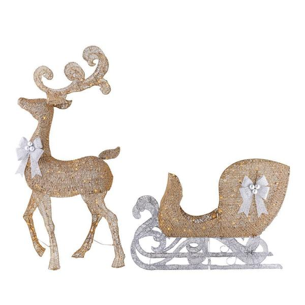 65 in LED Lighted Gold Reindeer and 3.8 ft LED Lighted Gold Sleigh with Silver Bows
