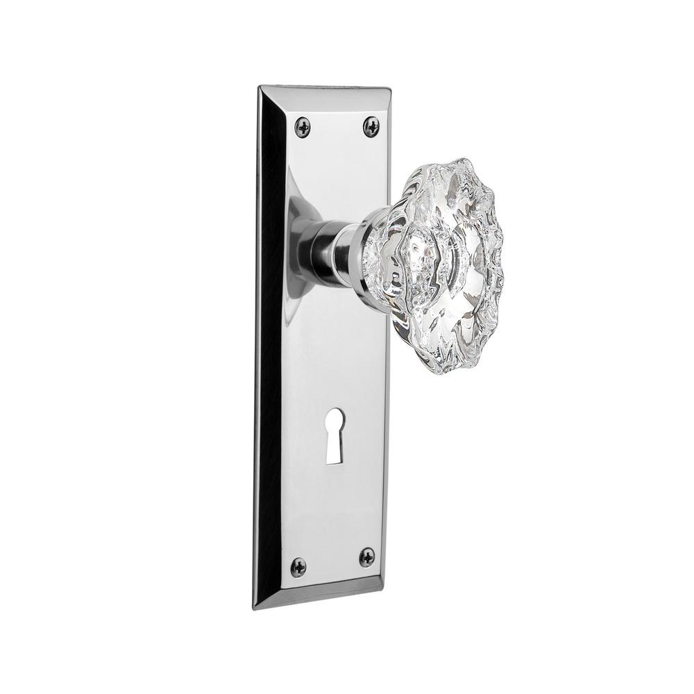 New York Plate 2-3/4 in. Backset Bright Chrome Privacy Chateau Door